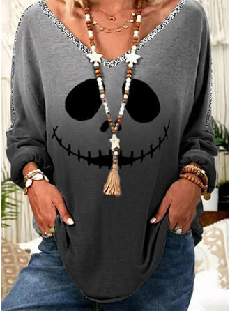 Halloween Gradient Print Sequins V-Neck Long Sleeves T-shirts