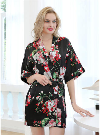 Polyester Satin Robe Romper Cover Up