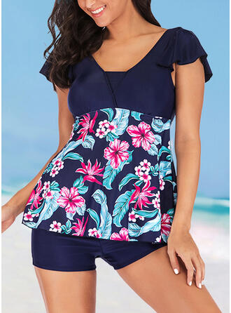 Tropical Print Patchwork Strap U-Neck Fashionable Casual Tankinis Swimsuits