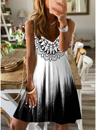 Print/Gradient Sleeveless A-line Above Knee Casual/Vacation Slip/Skater Dresses