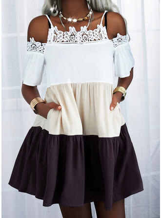 Lace/Color Block 1/2 Sleeves Shift Above Knee Casual Tunic Dresses