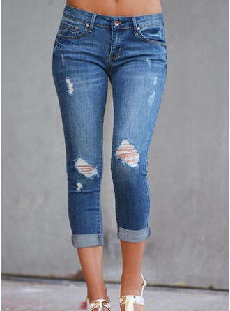 Shirred Ripped Sexy Vintage Denim & Jeans