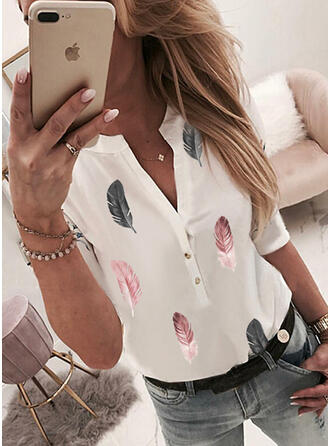 Print Feather V-Neck 3/4 Sleeves Casual Blouses