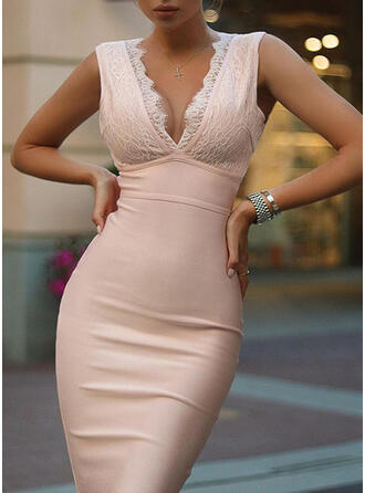 Solid Lace Sleeveless Bodycon Above Knee Elegant Dresses