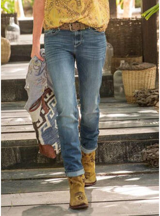 Pockets Shirred Plus Size Casual Tribal Denim & Jeans