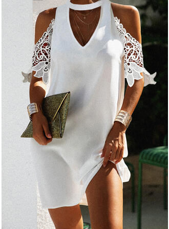 Lace/Solid 1/2 Sleeves Shift Above Knee Elegant Tunic Dresses