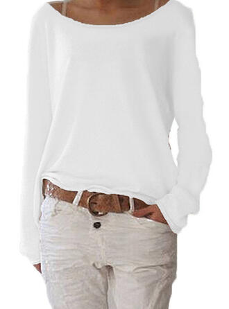 Solid Round Neck Long Sleeves Casual Basic Blouses