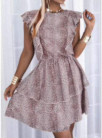 Print Cap Sleeve A-line Above Knee Casual Skater Dresses