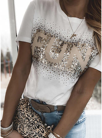 Print Letter Sequins Round Neck Short Sleeves T-shirts