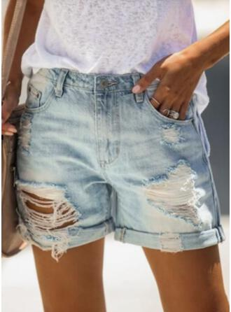 Plus Size Ripped Casual Vintage Shorts Denim & Jeans