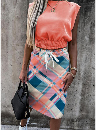 Plaid Drawstring Casual Sporty Suits