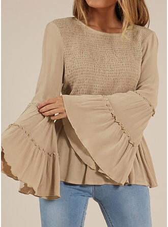 Solid Round Neck Long Sleeves Flare Sleeve Casual Blouses