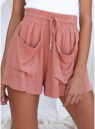 Pockets Plus Size Casual Solid Shorts