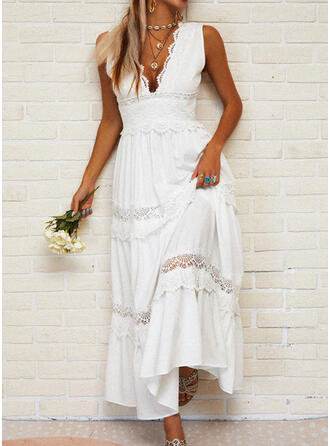 Lace/Solid/Hollow-out Sleeveless A-line Skater Casual/Vacation Maxi Dresses