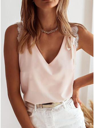 Solid Lace V-Neck Sleeveless Casual Tank Tops