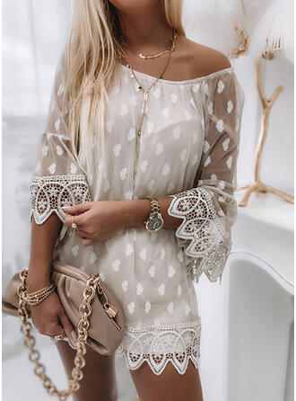 Print Lace Heart Round Neck 3/4 Sleeves Elegant Blouses