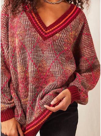 Print Striped V-Neck Casual Sweaters