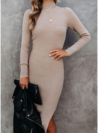 Solid Knit Long Sleeves Sheath Knee Length Casual Sweater Dresses