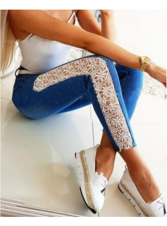 Solid Denim Lace Cropped Casual Sexy Plus Size Jacquard Pocket Denim & Jeans