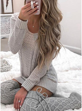 Solid Cable-knit Round Neck Casual Sweater Dress