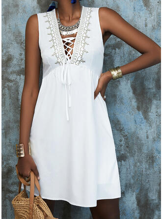 Lace/Solid/Lace-up Sleeveless A-line Above Knee Elegant Skater Dresses