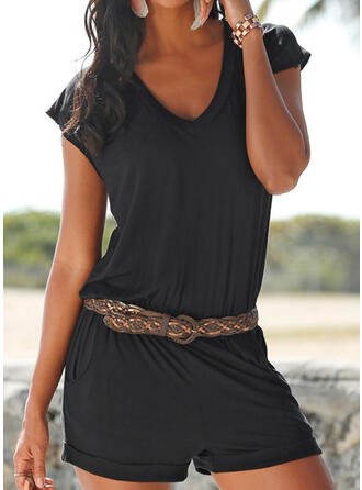 Solid Color V-Neck Sports Casual Cover-ups Swimsuits