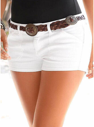 Solid Shirred Sexy Plain Shorts Denim & Jeans