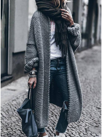 Solid Chunky knit Casual Long Cardigan