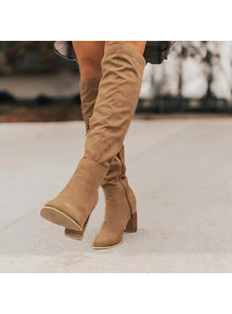 Women's Suede Stiletto Heel Knee High Boots Pointed Toe With Solid Color shoes