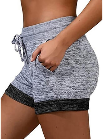 Patchwork Plus Size Drawstring Casual Sporty Shorts