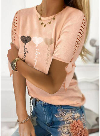 Print Heart Letter Round Neck Short Sleeves Casual Blouses