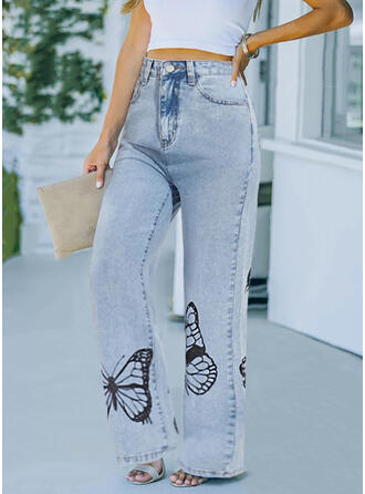 Print Butterfly Long Casual Pocket Pants
