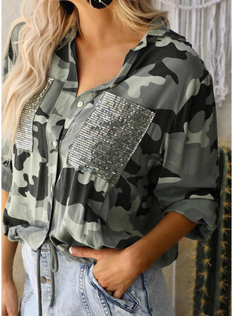 Camouflage V-Neck Long Sleeves Casual Blouses