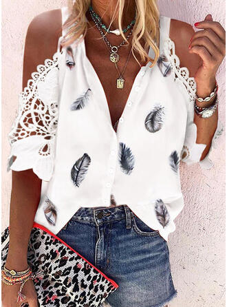 Print Lace Cold Shoulder 1/2 Sleeves Button Up Casual Shirt Blouses