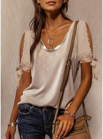 Solid Beaded Cold Shoulder Short Sleeves Casual Blouses