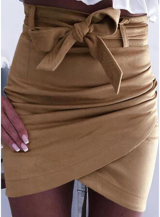 Polyester Striped Plain Above Knee Bodycon Skirts