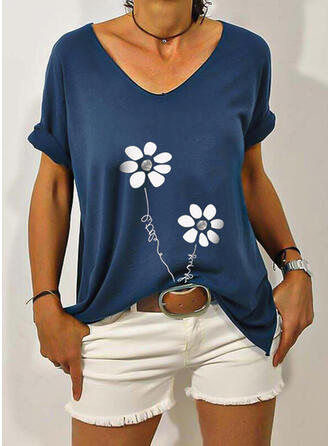 Floral Print Letter Short Sleeves T-shirts