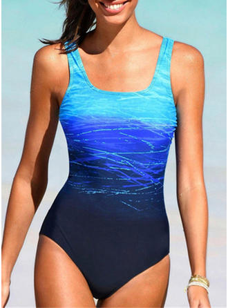 Colorful Print Strap Plus Size Casual One-piece Swimsuits