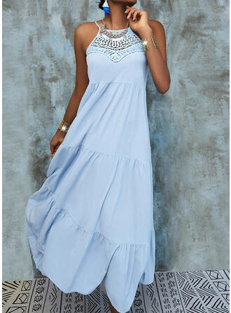 Lace/Solid/Backless Sleeveless Shift Casual/Vacation Midi Dresses