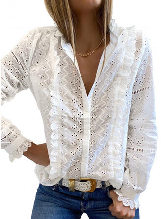 Solid Hollow-out V-Neck Long Sleeves Casual Shirt Blouses