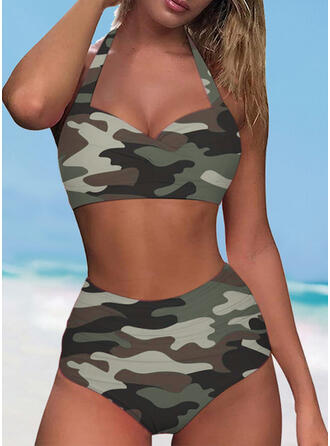 Solid Color Halter V-Neck Sexy Casual Bikinis Swimsuits