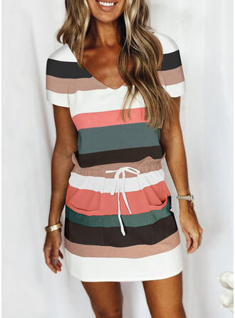 Color Block Patchwork Drawstring Sexy Striped Stretchy Suits