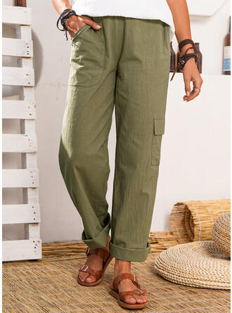 Pockets Plus Size Casual Solid Lounge Pants