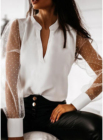 Solid V-Neck Long Sleeves Lantern Sleeve Casual Blouses