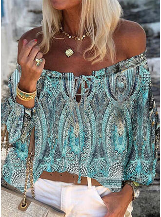 Print Lace-up Off the Shoulder Long Sleeves Casual Blouses