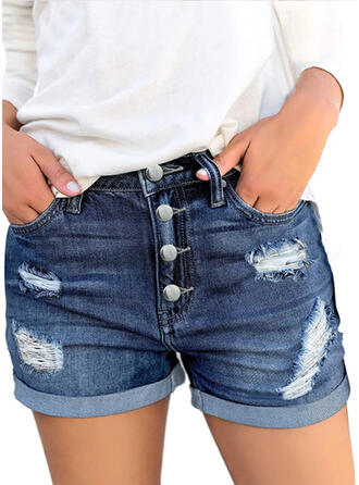 Shirred Plus Size Ripped Casual Vintage Shorts Denim & Jeans