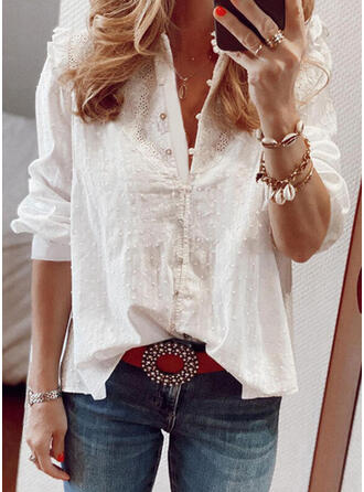Solid Lace Stand collar Long Sleeves Button Up Elegant Shirt Blouses