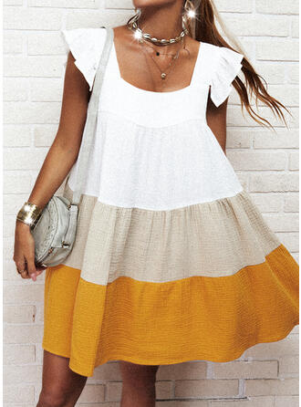 Color Block Cap Sleeve Shift Above Knee Casual Tunic Dresses