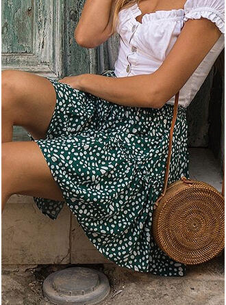 Polyester Print Above Knee Pleated Skirts