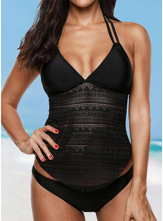 Solid Color Patchwork Halter V-Neck Elegant Casual Tankinis Swimsuits
